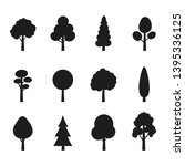 tree icon set. plants with... | Shutterstock . vector #1395336125