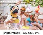 happy crazy friends having fun... | Shutterstock . vector #1395338198