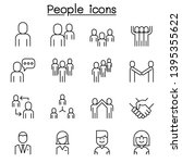 people icon set in thin line... | Shutterstock .eps vector #1395355622