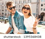 smiling beautiful girl and her... | Shutterstock . vector #1395368438
