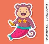 cute mermaid monkey with banana ... | Shutterstock .eps vector #1395380945