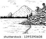 mountain lake forest pine trees ...   Shutterstock .eps vector #1395390608