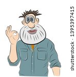 man smile and shows ok hand... | Shutterstock .eps vector #1395397415