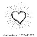 heart symbol with sunburst hand ... | Shutterstock . vector #1395411872