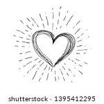 heart symbol with sunburst hand ...   Shutterstock . vector #1395412295