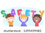 illustration of kids holding... | Shutterstock .eps vector #1395459482
