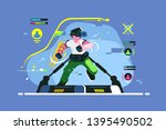 boy playing in vr games vector... | Shutterstock .eps vector #1395490502