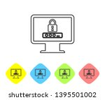 grey monitor with password... | Shutterstock .eps vector #1395501002