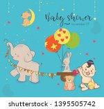 baby shower invitation template ... | Shutterstock .eps vector #1395505742