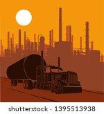 industrial landscape fuel truck ... | Shutterstock .eps vector #1395513938