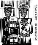 Woodcut Style Mexican Day Of...