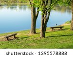 idyllic lake with recreational... | Shutterstock . vector #1395578888