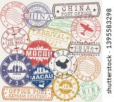 macau china set of stamps.... | Shutterstock .eps vector #1395583298