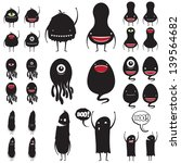 Set of cute  monsters with many expressions for Halloween and scrapbooking