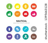 16 Nautical Vector Icons Set...