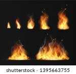 Realistic flame. Hot fireball warm furnace fire blazing effect abstract torch red flames flaming isolated fireplace vector collection