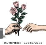 a man s hand gives roses to a... | Shutterstock . vector #1395673178