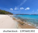 colorful beach with boats near... | Shutterstock . vector #1395681302