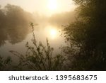 foggy morning. dawn outside the ... | Shutterstock . vector #1395683675