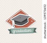 Graduation Icon Over Vintage...