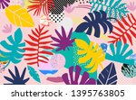 tropical jungle leaves and...   Shutterstock .eps vector #1395763805