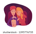 couple watching scary movie... | Shutterstock .eps vector #1395776735