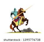 knight attacking on horseback... | Shutterstock .eps vector #1395776738