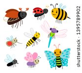 flying insects vector... | Shutterstock .eps vector #1395789902