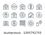 smart home related line icon...