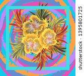 square flower arrangement.... | Shutterstock .eps vector #1395801725