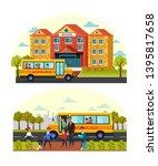 school building exterior flat... | Shutterstock .eps vector #1395817658