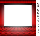 cinema screen with red curtain... | Shutterstock .eps vector #1395831488