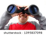 bearded man looking through... | Shutterstock . vector #1395837098
