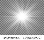 white beautiful light explodes... | Shutterstock .eps vector #1395848972