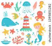 sea animals  plants  and... | Shutterstock .eps vector #1395851282