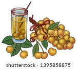 juice  berries  cherries hand... | Shutterstock .eps vector #1395858875