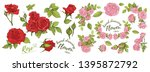 beautiful bouquet with red... | Shutterstock .eps vector #1395872792