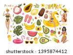 summer set with hand drawn... | Shutterstock .eps vector #1395874412