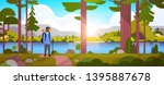 male tourist hiker with... | Shutterstock .eps vector #1395887678