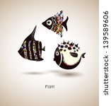 hand drawn fish. color   Shutterstock .eps vector #139589606