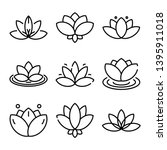 Lotus Icons Set. Outline Set Of ...