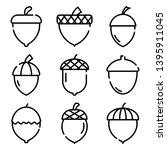 acorn icons set. outline set of ... | Shutterstock .eps vector #1395911045