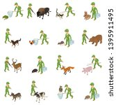 catch animal icons set.... | Shutterstock .eps vector #1395911495