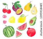 colorful set of watercolor... | Shutterstock .eps vector #1395918485