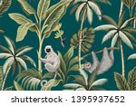tropical vintage animals lemur  ... | Shutterstock .eps vector #1395937652