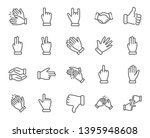 hand gestures line icons.... | Shutterstock .eps vector #1395948608