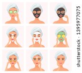 set of young attractive well... | Shutterstock .eps vector #1395977075