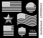 vintage usa american flag set ... | Shutterstock .eps vector #1395985415