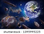 asteroid impact the earth  end... | Shutterstock . vector #1395995225