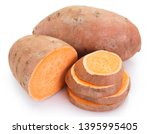 sweet potato isolated on white... | Shutterstock . vector #1395995405